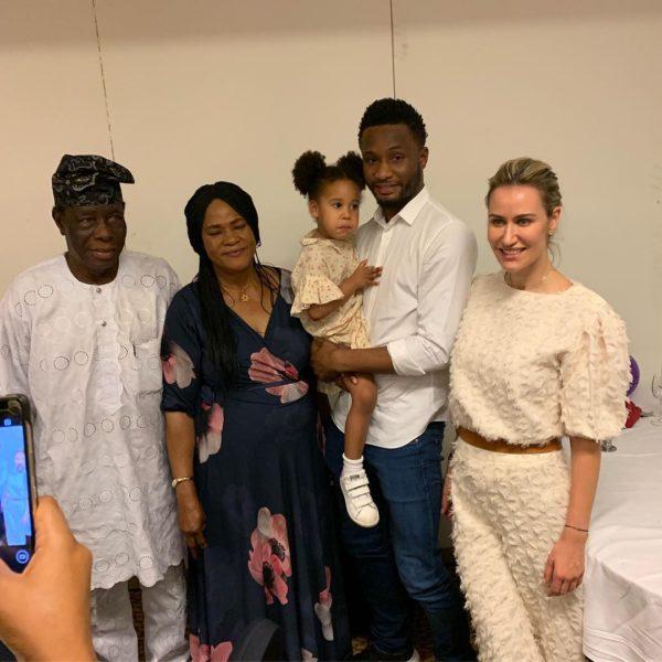 Mikel Obi's daughter is a Natural Drummer as she visits Grandpa & Grandma in Nigeria   BellaNaija
