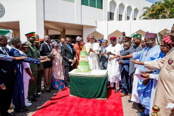 President Buhari's Aides surprise him on 76th Birthday | BellaNaija