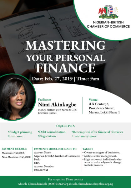 Here's an opportunity to Learn how to get Your Finance Right with Nimi Akinkugbe | February 27th