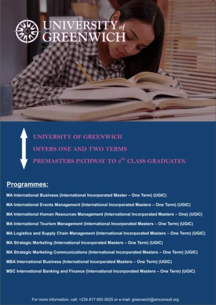 Are you a 3rd Class Graduate seeking to Start a Premaster Program? Attend The University of Greenwich Counselling Session today, January 18th