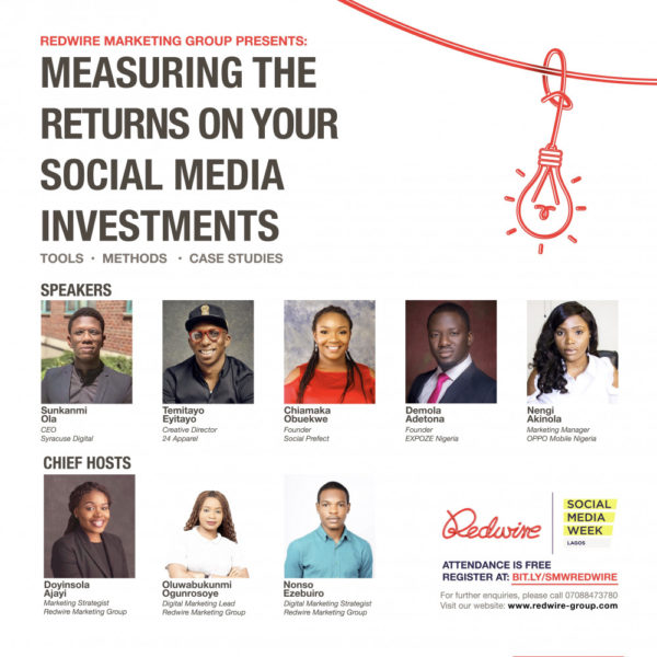 """Redwire Marketing Consulting to discuss """"Measuring the Returns on Your Social Media Investments"""" at #SMWLagos 2019 