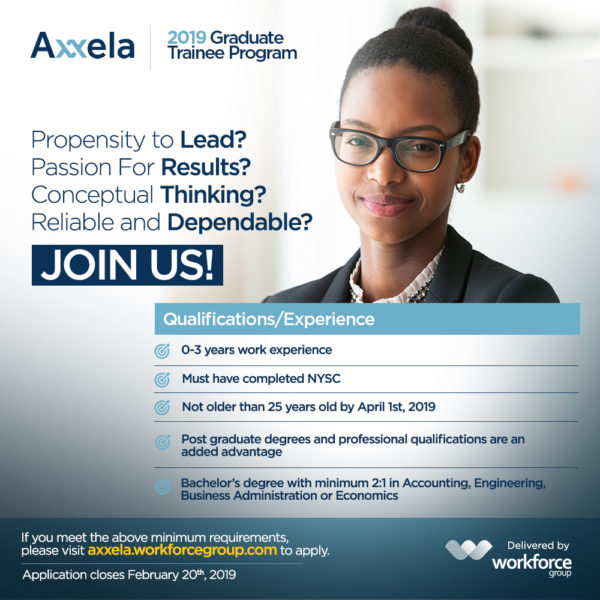 Here's how you can register for Axxela's 2019 Graduate Trainee Program
