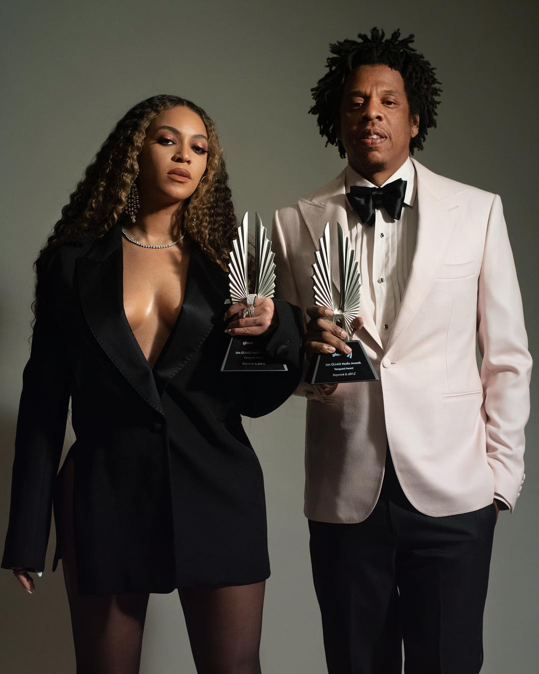 Beyonce and Jay-Z with their GLAAD Vanguard Award, which they were presented for their purported work as LGBTQ Allies