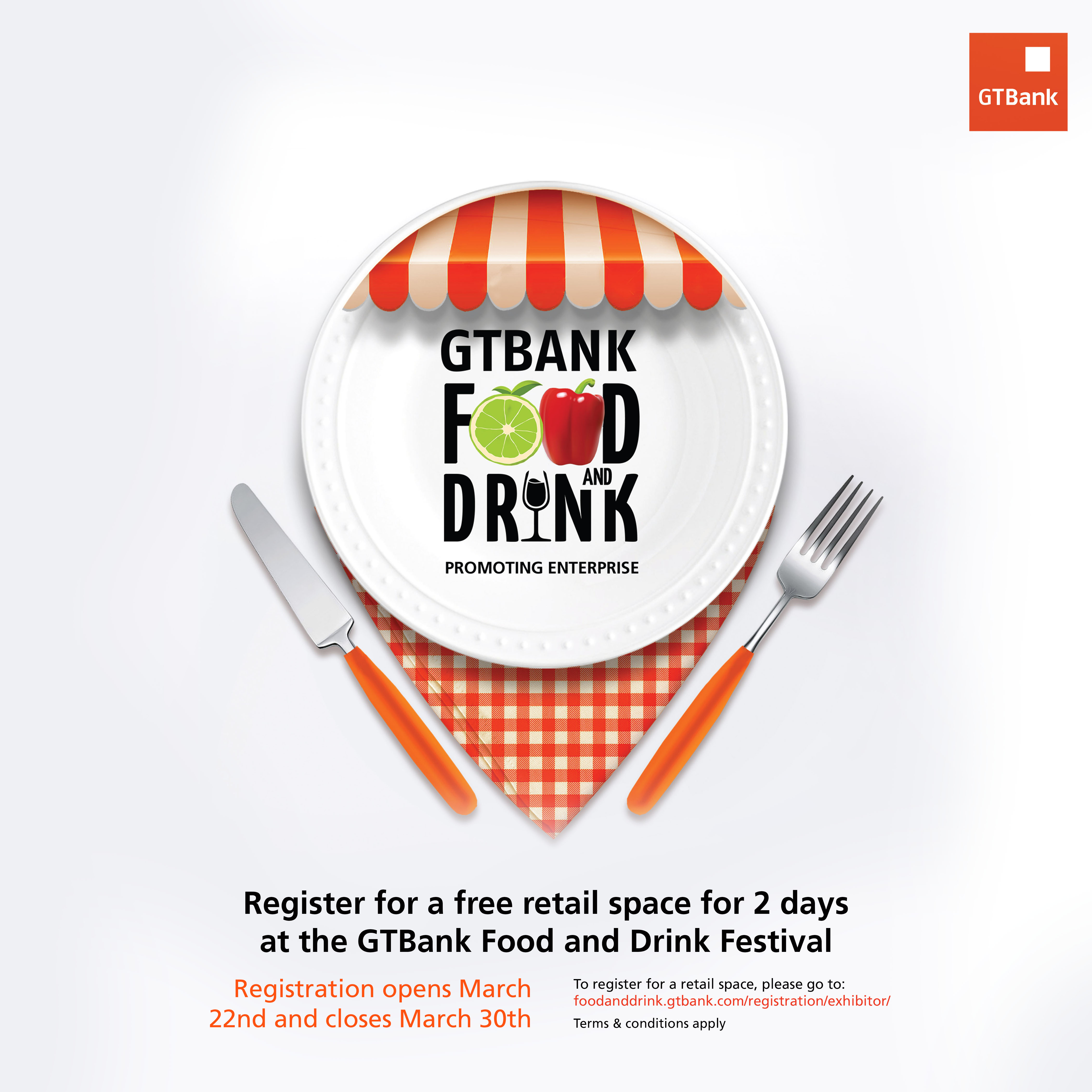 Are You a Food Vendor? Apply For A Free Stall At GTBank Food & Drink Festival | April 28th- May 1st