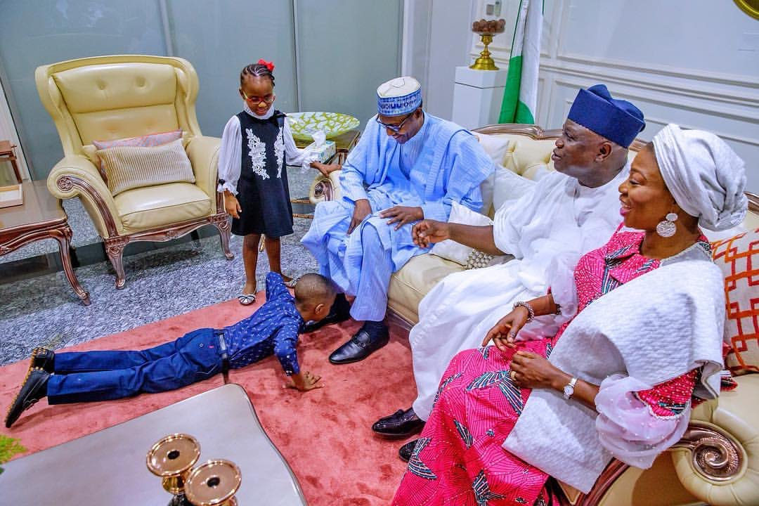 This Photo of Ambode's Son Prostrating to Greet Buhari is Beautiful