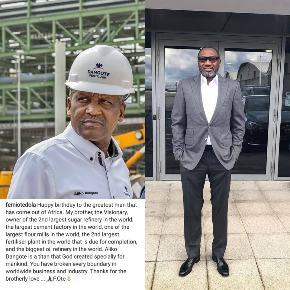 """You have broken every boundary in worldwide business and industry"" – Otedola to Dangote on Birthday"
