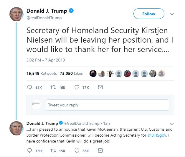 US Homeland Security chief Nielsen resigns
