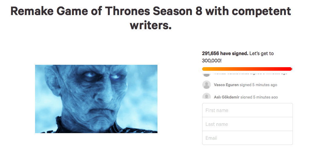 300,000 Fans of 'Game of Thrones' have signed a Petition to Redo the Show's Final Season jaiyeorie