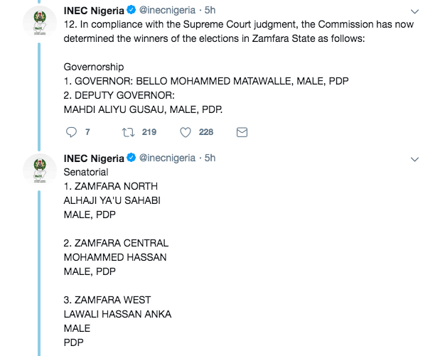 INEC Complies with Supreme Court Order on Zamfara Polls