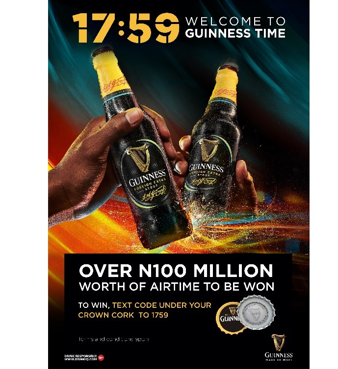 Grab a Bottle of Guinness Foreign Extra Stout & Stand A Chance to Win N100 Million in the 17:59 – Welcome to Guinness Time Promo