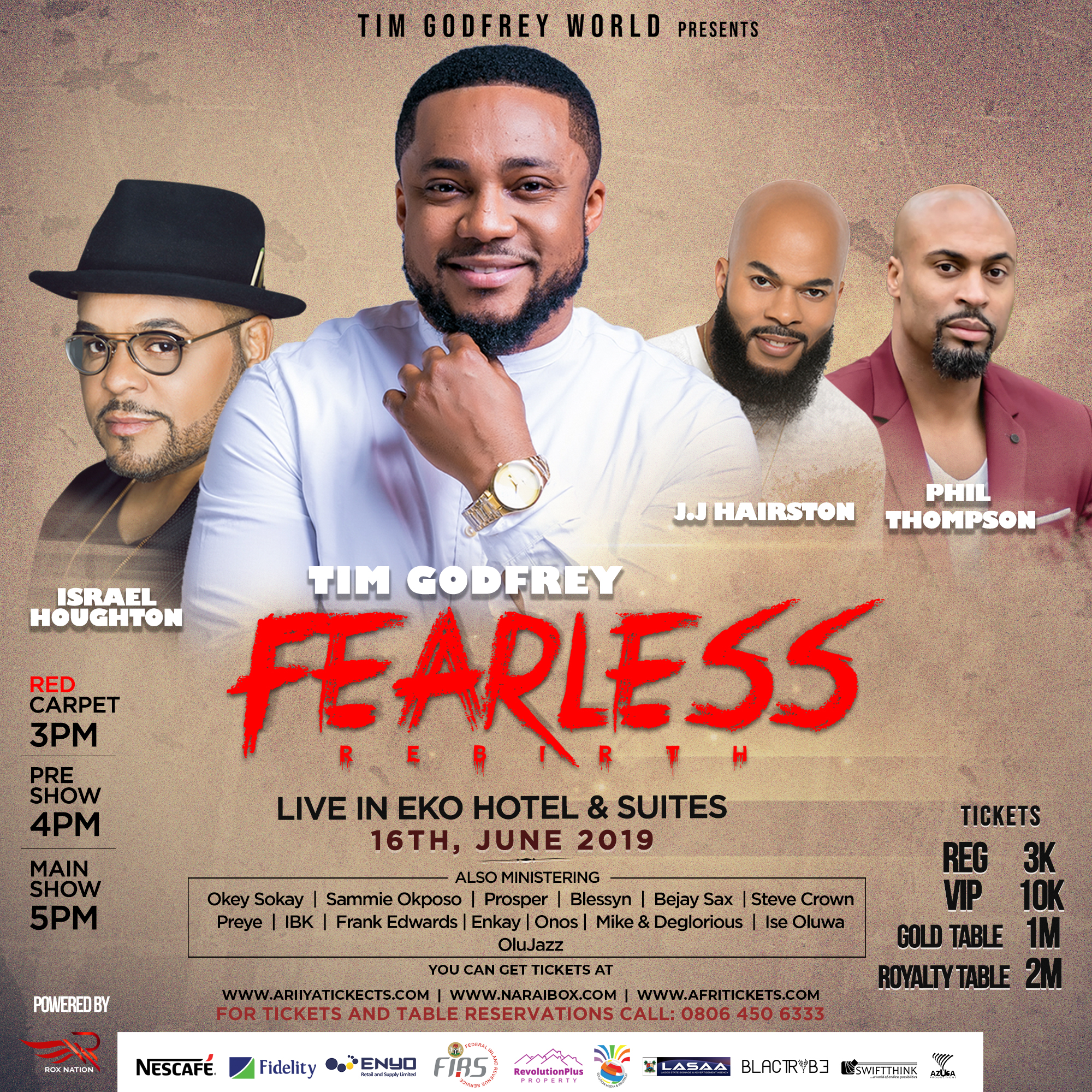 Israel Houghton, Phil Thompson & JJ Hairston to Minister at Tim Godfrey 'Fearless Rebirth' Concert