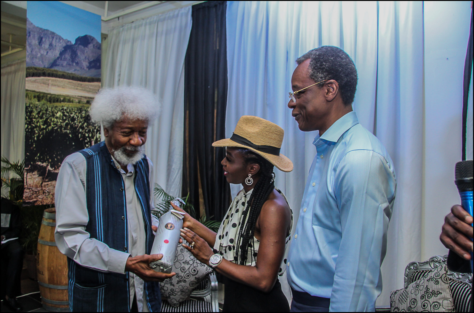 Nero, Vivian Asibelua host Wole Soyinka to a Wine Auction to celebrate his 85th Birthday