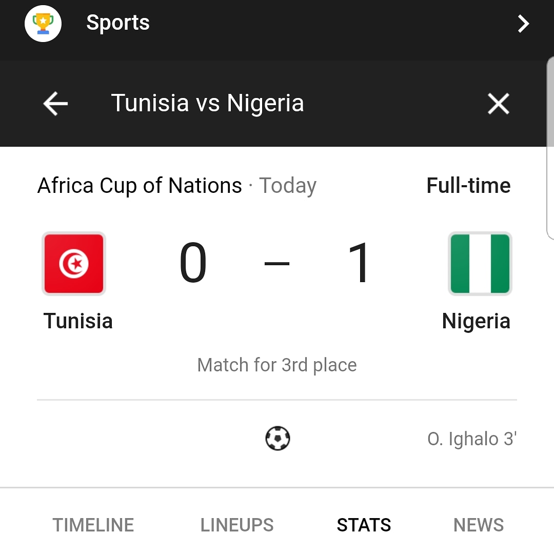 Nigeria defeats Tunisia to take 3rd Place at #AFCON2019