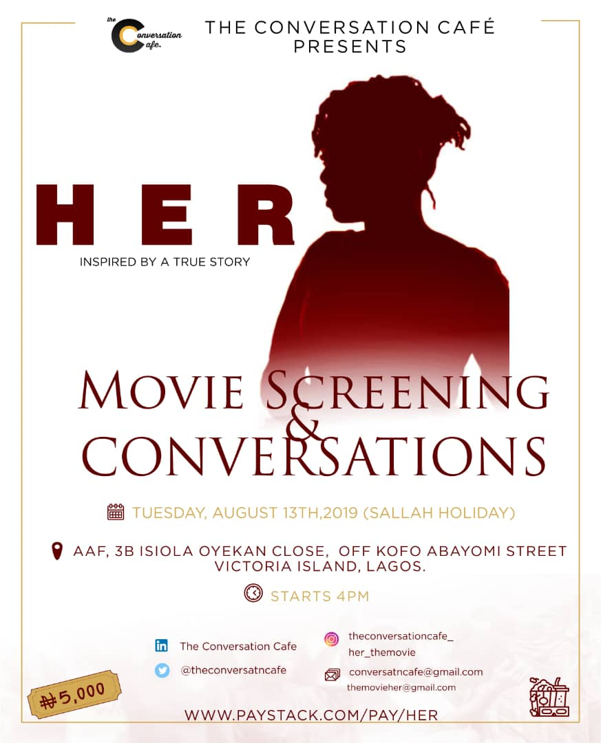 """The Conversation Café launches its Sanitary Bank Initiative at the Screening of  """"Her"""", a 30-minute Film focused on the Issue of Period Poverty"""