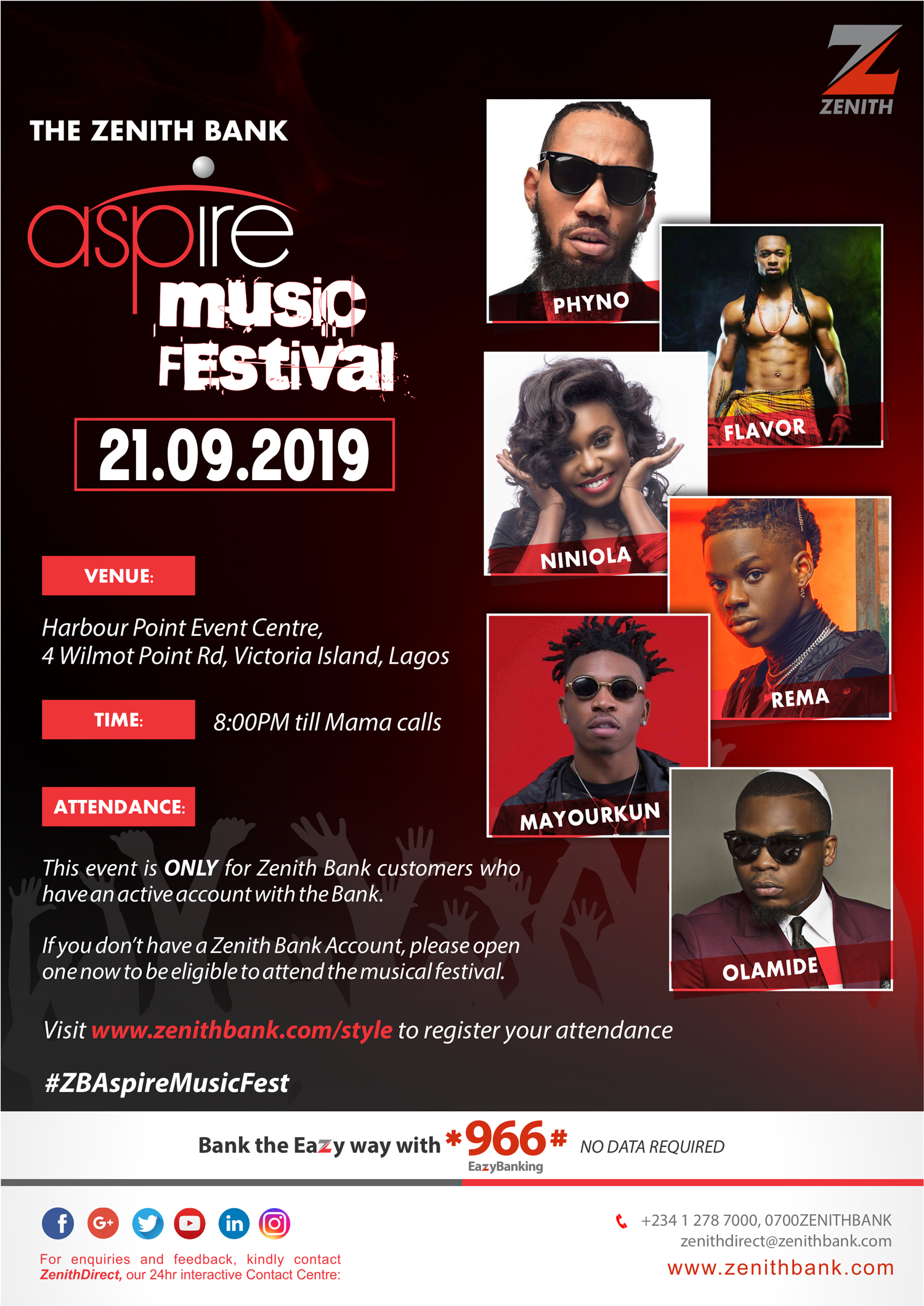 Phyno, Flavor, Niniola, Rema, Mayorkun & Olamide to lockdown Zenith Bank's Aspire Music Festival | September 21st