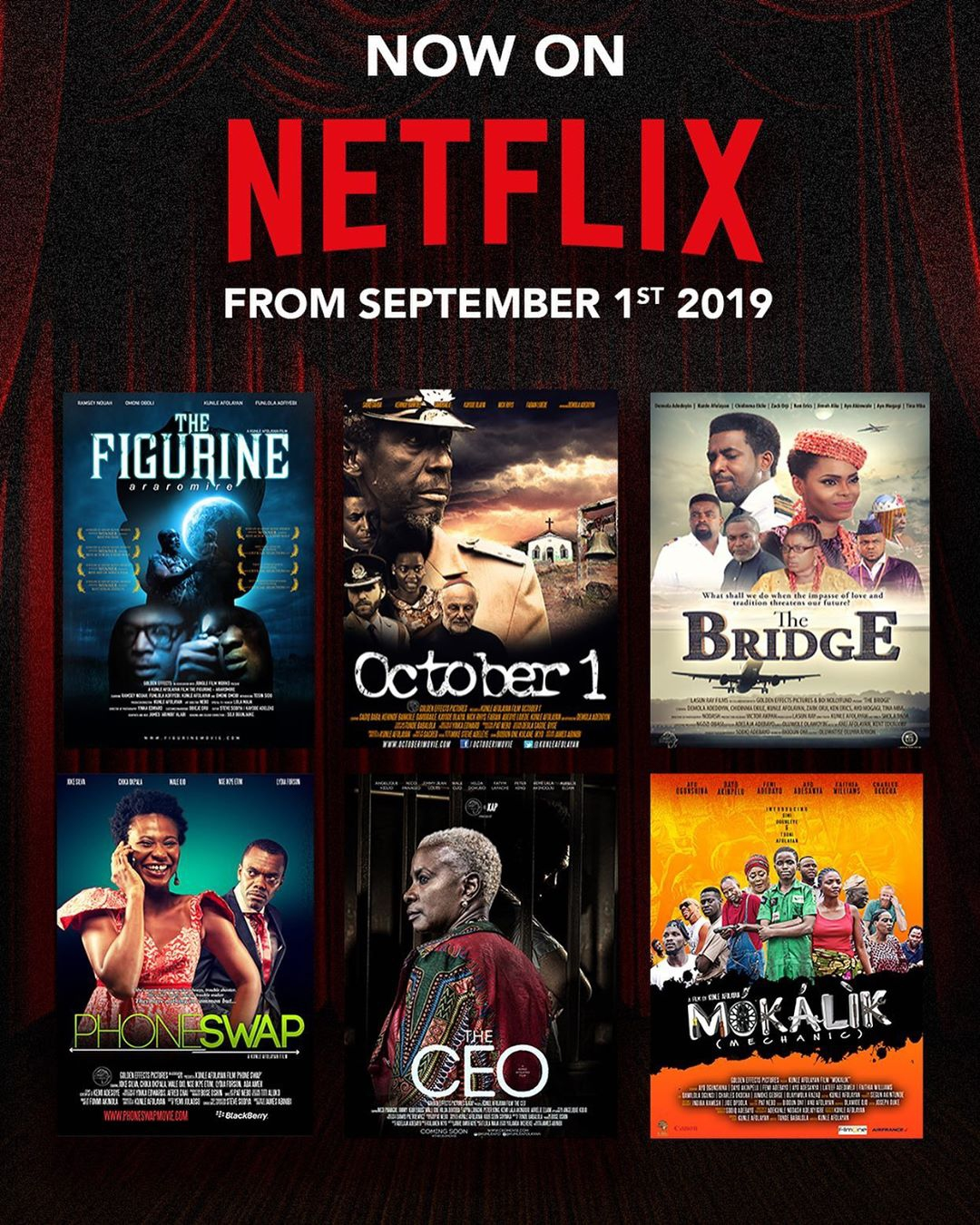 Kunle Afolayan announces his Movies are Now Streaming on Netflix