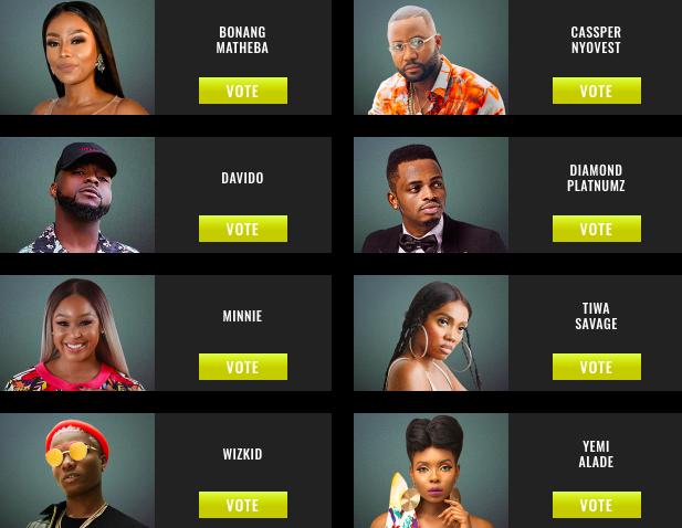 Wizkid, Yemi Alade, Tiwa Savage, Davido, Jackie Aina