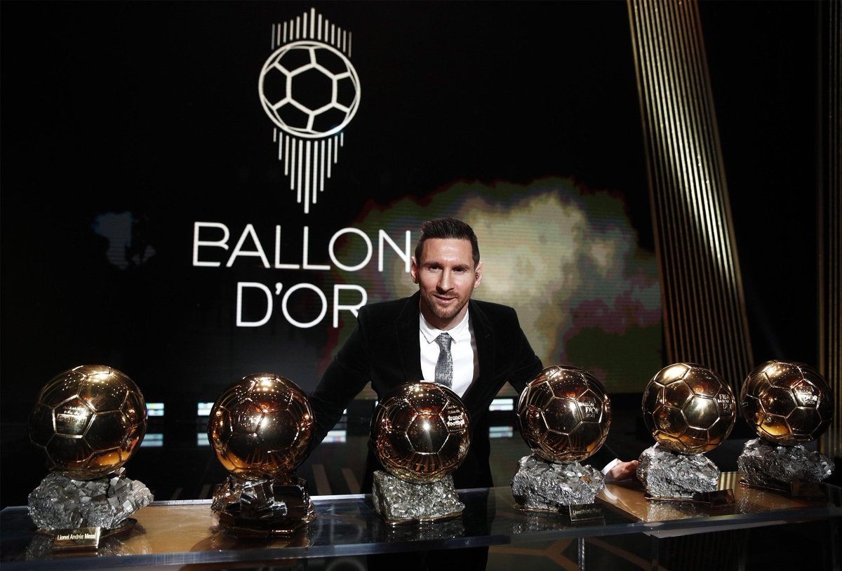 Lionel Messi wins the Ballon d'Or for a record 6th Time