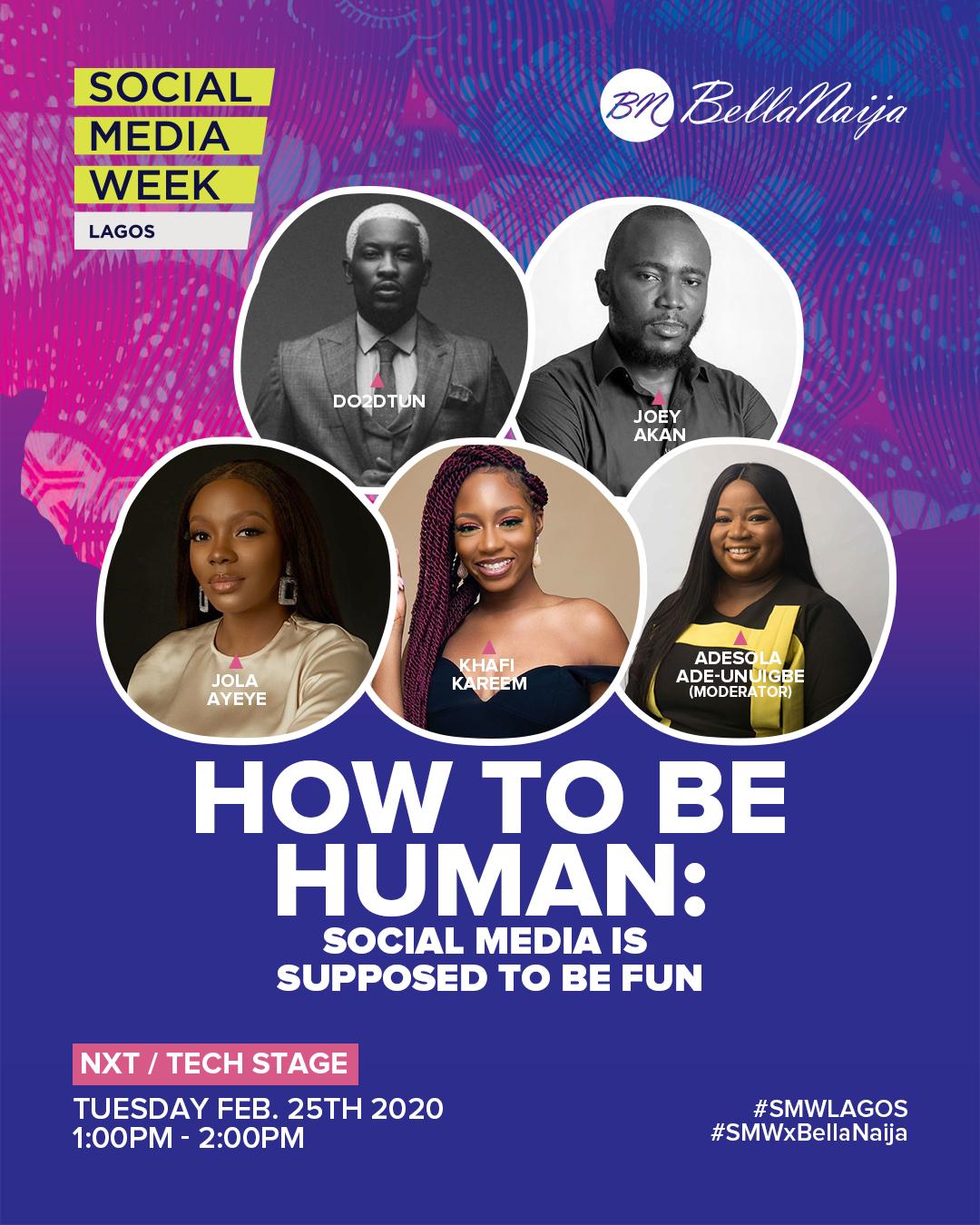 Social Media Week Lagos: Make it a Date with Adesola Ade-Unuigbe, Joey Akan, Khafi Kareem, Do2dtun, Jola Ayeye at BellaNaija's Special Panel Session