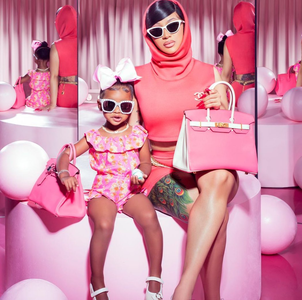 Twinning In Pink! You'll Love this Photo of Cardi B & Kulture | BellaNaija