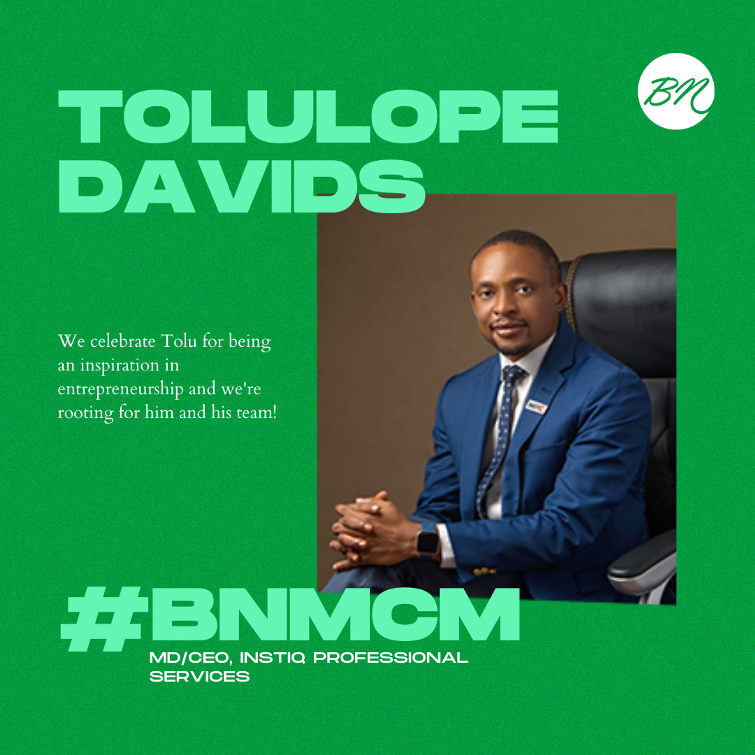 Tolulope Davids of Instiq Professional Services is Our #BellaNaijaMCM this Week!