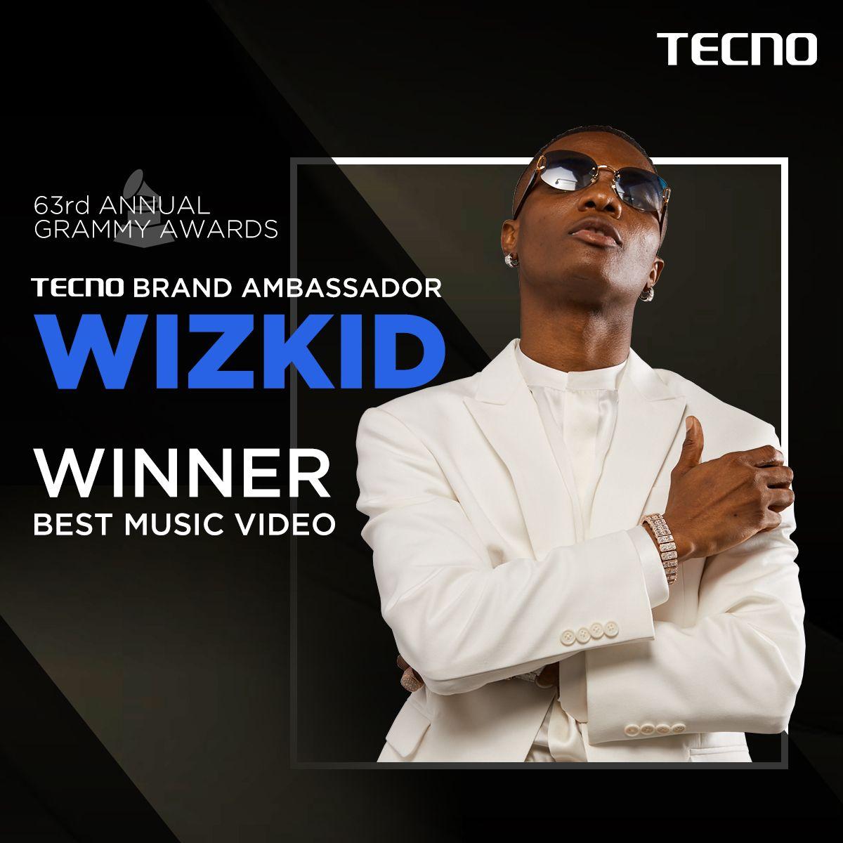 TECNO cheers on their Ambassador Wizkid on his Grammy Award Win🏆