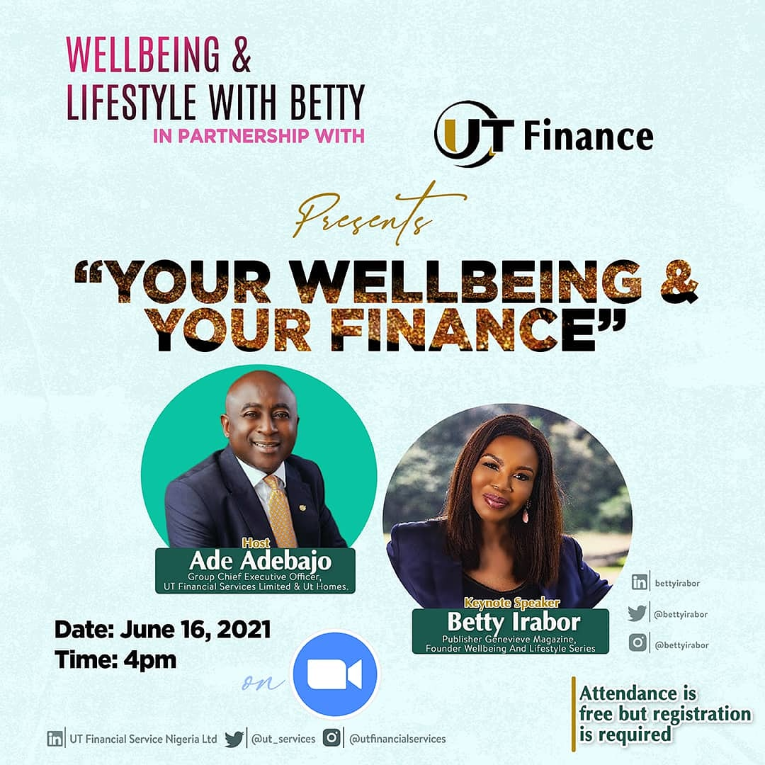 """Betty Irabor partners with UT Finance for """"Your Wellbeing & Your Finance"""" – Register Now"""